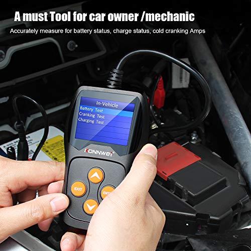 KONNWEI KW600 Car Battery Tester 12V Professional 100-2000 CCA Automotive Battery Load Analyzer and Alternator Tester Waveform Voltage Test for Car/Boat/Motorcycle