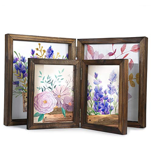Picture Frames-8x10 Picture Frame and 5x7 Picture Frame-Wood Frames, Rustic Double Hinged Frame with Glass Front for Bathroom Bedroom Living Room Kitchen Office Desktop or Tabletop (2, 8x10 and 5x7) (2 8x10 Picture Frame)