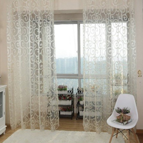 Solid Sweet Floral Tulle Voile Door Window Curtains Black - 3