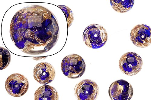 Glass beads, purple with gold and silver-colored foil finished with golden glitter, 12mm round sold per 15 pcs/string