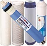 5 pc Reverse Osmosis Replacement Filter Set RO Cartridges w/ 100 GPD Membrane Standard Size High Quality