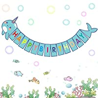 Happy Storm Narwhal Banner Narwhal Party Supplies Favors for Kids Narwhal Unicorn of the Sea Birthday Party Decor DIY Under the Sea Baby Shower Banner Decorations (blue)
