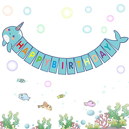 Happy Storm Narwhal Banner Narwhal Party Supplies Favors for Kids Narwhal Unicorn of the Sea Birthday Party Decor DIY Under the Sea Baby Shower Banner Decorations (blue) (Eye Of The Storm Questions And Answers)