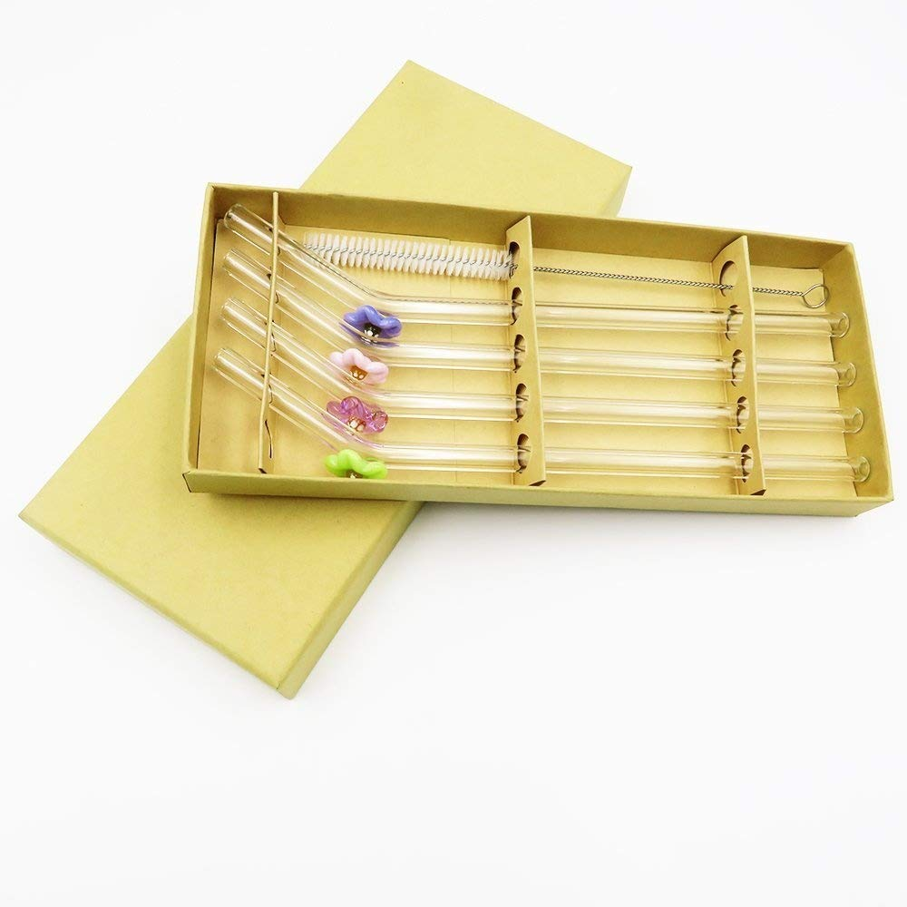 DOCTORBEE Bent Glass Drinking Straws 9MM 9Inch for Beverage Water Tea Coffee Milk Set of 4 with a Brush Amber Ltd.