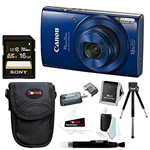 Canon PowerShot ELPH 190 IS 20 MP Digital Camera (Red) + Sony 16GB Memory Card + Focus Medium Point & Shoot Camera Accessory Bundle