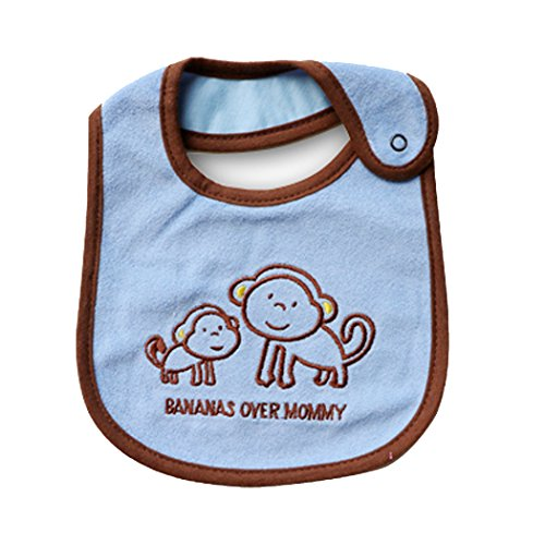 - Baby Carter Cartoon Towel Kids Toddler Dinner Feeding Bibs Burp Cloths (Blue Monkey)