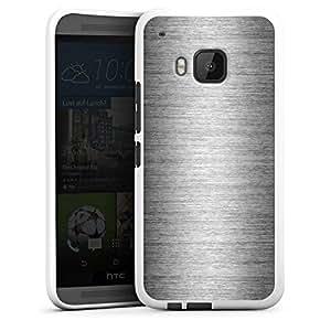 Carcasa Design Funda para HTC One M9 Silicone Case white - Metal Look - Silber
