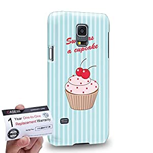 Case88 [Samsung Galaxy S5 Mini] 3D impresa Carcasa/Funda dura para & Tarjeta de garantía - Art Drawing Sweet As A Cupcake Blue