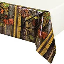 Creative Converting Solid Plastic Banquet Table Cover with Border Print, Hunting Camo