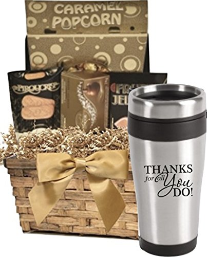 Thank You Gift Basket of Snacks & Stainless Tumbler/Stainless Steel Thank You Tumbler with Snack Basket/Holiday Gift Basket/Appreciation Gifts/Corporate Thank You Gift Baskets