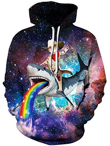 Unisex Realistic Rainbow Space Cat on Shark Printed Hip Hop Street Style Hip Hop Sweatshirt Pullover Hoodie for Men Women