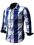 Neleus Men's Long Sleeve Button Down Plaid Shirts,112,Blue,L,EUR XL