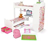 Playtime by Eimmie 18 Inch Doll Bunk Beds w/ Trundle and Accessories