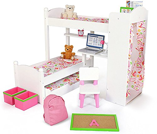 Playtime by Eimmie - 18 Inch Doll Bunk Bed Set w/ Trundle and Accessories - Bedroom Set for 18 Inch Dolls