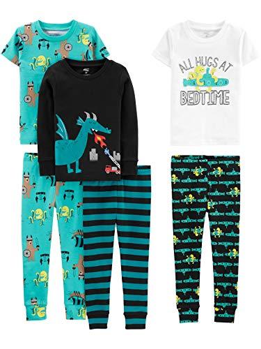 Simple Joys by Carter's Boys' Toddler 6-Piece Snug Fit Cotton Pajama Set, Dragons/Igauana, 5T