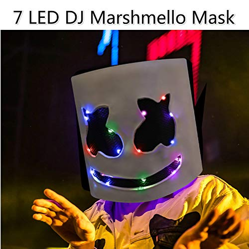 DJ Marshmello Mask, Marshmello Helmet Music Festival Marshmallow Head Mask Music Fans Props for Adults and -