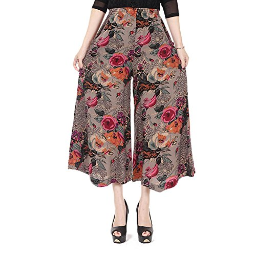 NJunicorn Uncle Womens Comfy Elastic Waist Cotton&Linen Floral Culottes Wide Leg Pants