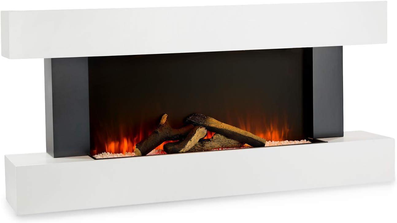Calefactor de Pared Calentador con Ventilador Negra 1000 y 2000 W Efecto Llama Independiente hasta 40m/² Klarstein Studio 8 Chimenea el/éctrica
