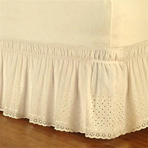 Single Eyelet Ruffled Bed Skirt Wrap Around Easy Fit Cotton Embroider Bedspread Queen Dust Ruffle Mattress Cover