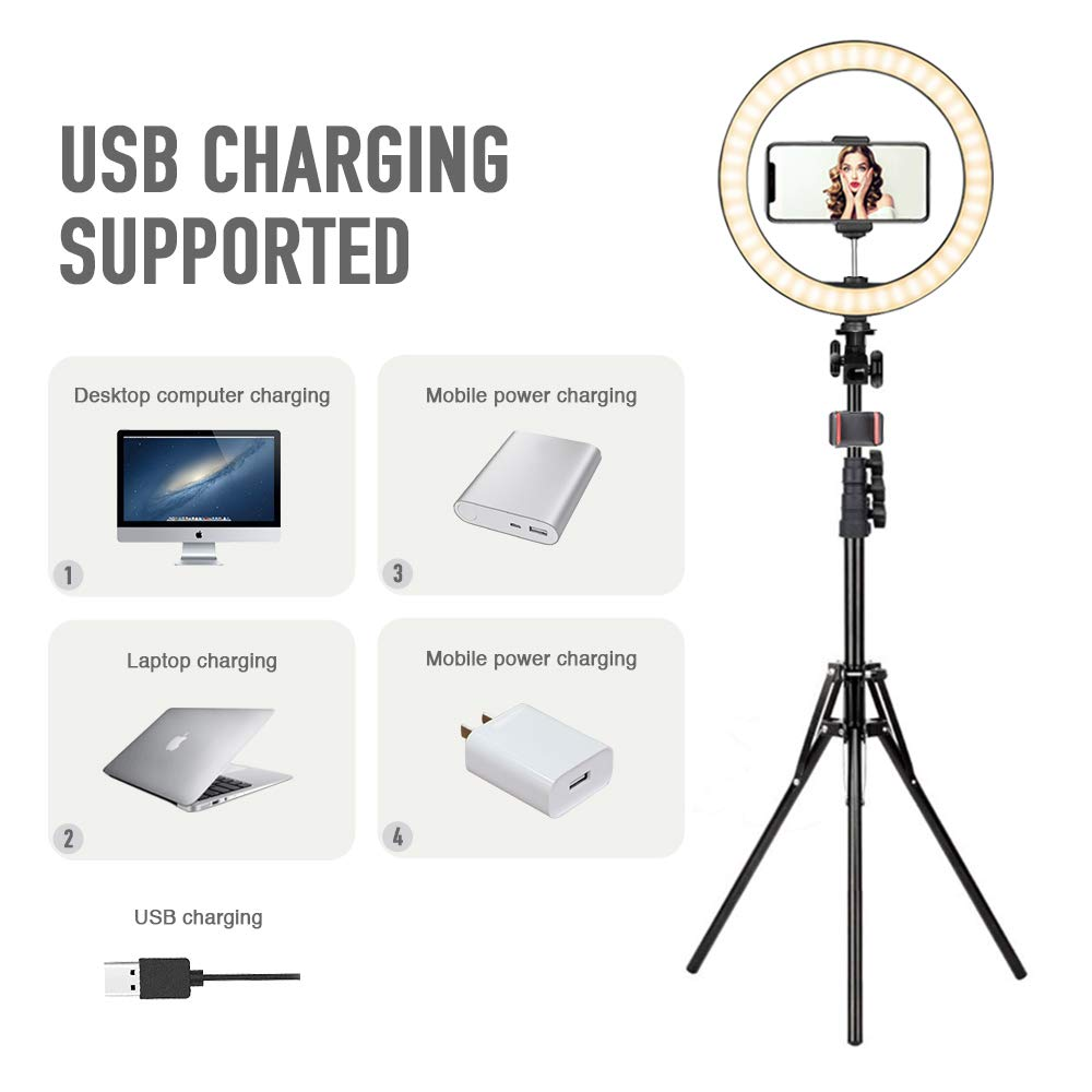 Shooting with 10 Brightness Level /& 3 Light Modes Dimmable Makeup Ring Light for Photography 10 LED Selfie Ring Light with Tripod Stand /& Phone Holder for Live Streaming /& YouTube Video