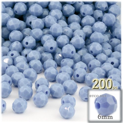 (200pc Plastic Round Opaque Faceted Beads 6mm Light Baby Blue Beads)