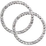 eBoot Auto Start Decor Rhinestone Car Engine Start Stop Decoration Crystal Interior Ring Decal for Vehicle Ignition Button, 2 Pack, (White)
