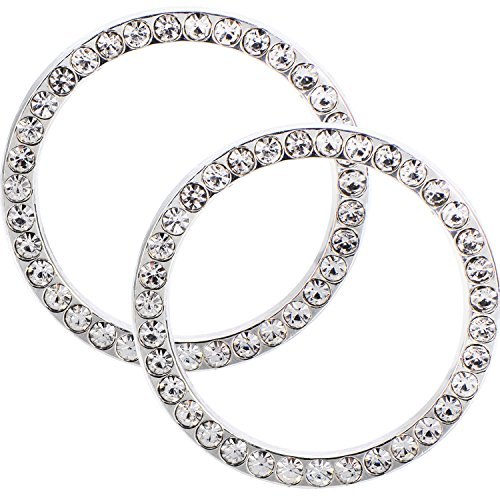 eBoot Auto Start Decor Rhinestone Car Engine Start Stop Decoration Crystal Interior Ring Decal for Vehicle Ignition Button, 2 Pack (White)