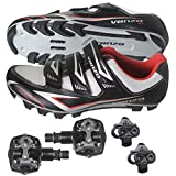 Venzo Mountain Bike Bicycle Cycling Shimano Spd Shoes + Pedals & Cleats 44(black) | amazon.com