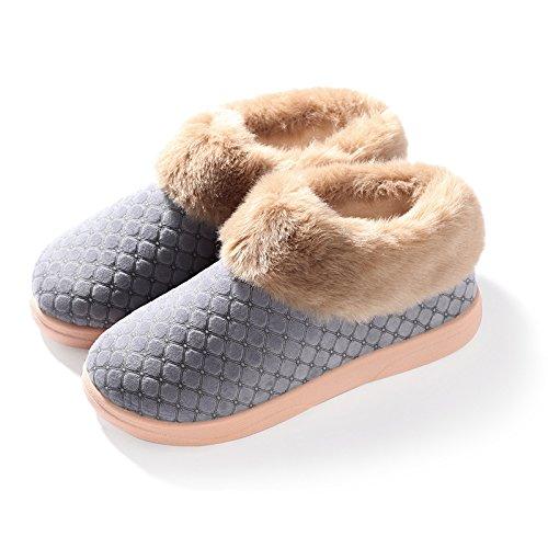 Cotone fankou pantofole inverno caldo uomini e donne anti-slip di cotone spessa scarpe alla fine del soggiorno ,45-46, grigio