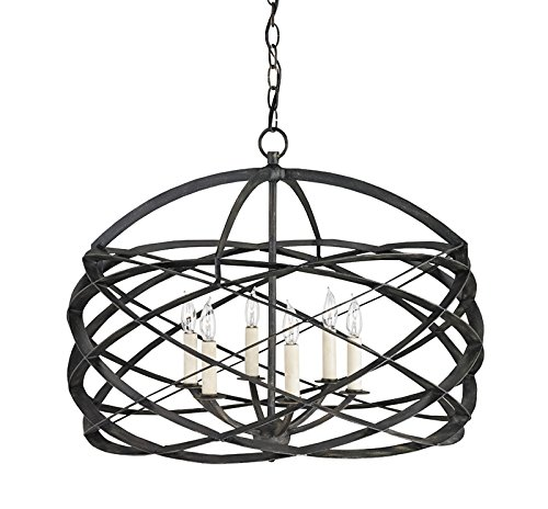 Currey and Company 9729 Horatio - Six Light Chandelier, Black Iron (Currey Iron Chandelier)