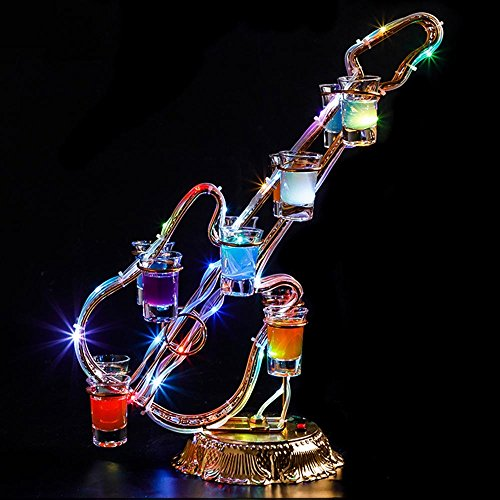 BJL-Wine Rack Wrought Iron Desktop Colorful LED Light Charging Suitable for Many Occasions Glowing Cup Glass Cup Holes: 24 (Heart-Shaped), 15 (Saxophone), 12 (Ferris), 12 (Violin) OYO