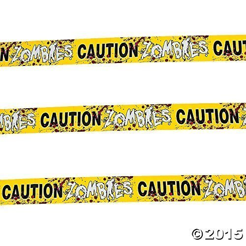 Fun Express - 1 Caution Zombies Party Tape Roll, (20 inches) (2-Pack)]()