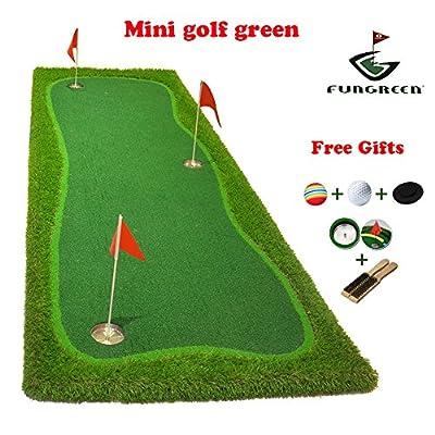 FUNGREEN Mini Golf Green 100x300cm Indoor Training Putting Pad Practice Hole Cup Holder Outdoor Backyard Golf Mat Green