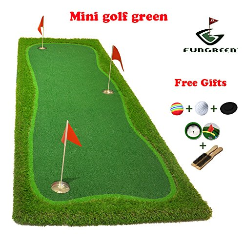 FUNGREEN Mini Golf Green 100x300cm Indoor Training Putting Pad Practice Hole Cup Holder Outdoor Backyard Golf Mat Green