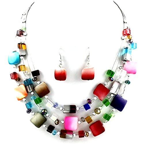Urban Chic Mixed Multi-Colors Shell Wire Strand Necklace Earrings Set Uniklook jewelry