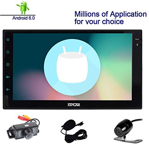 Double Din EinCar Android 6.0 Car Stereo with 7'' Full touch screen In Dash Navigation Headunit GPS Vehicle Radio Receiver Support 1080P/Bluetooth/Mirrorlink/External Mic/WiFi with Front & Rear Camera - Facia Control