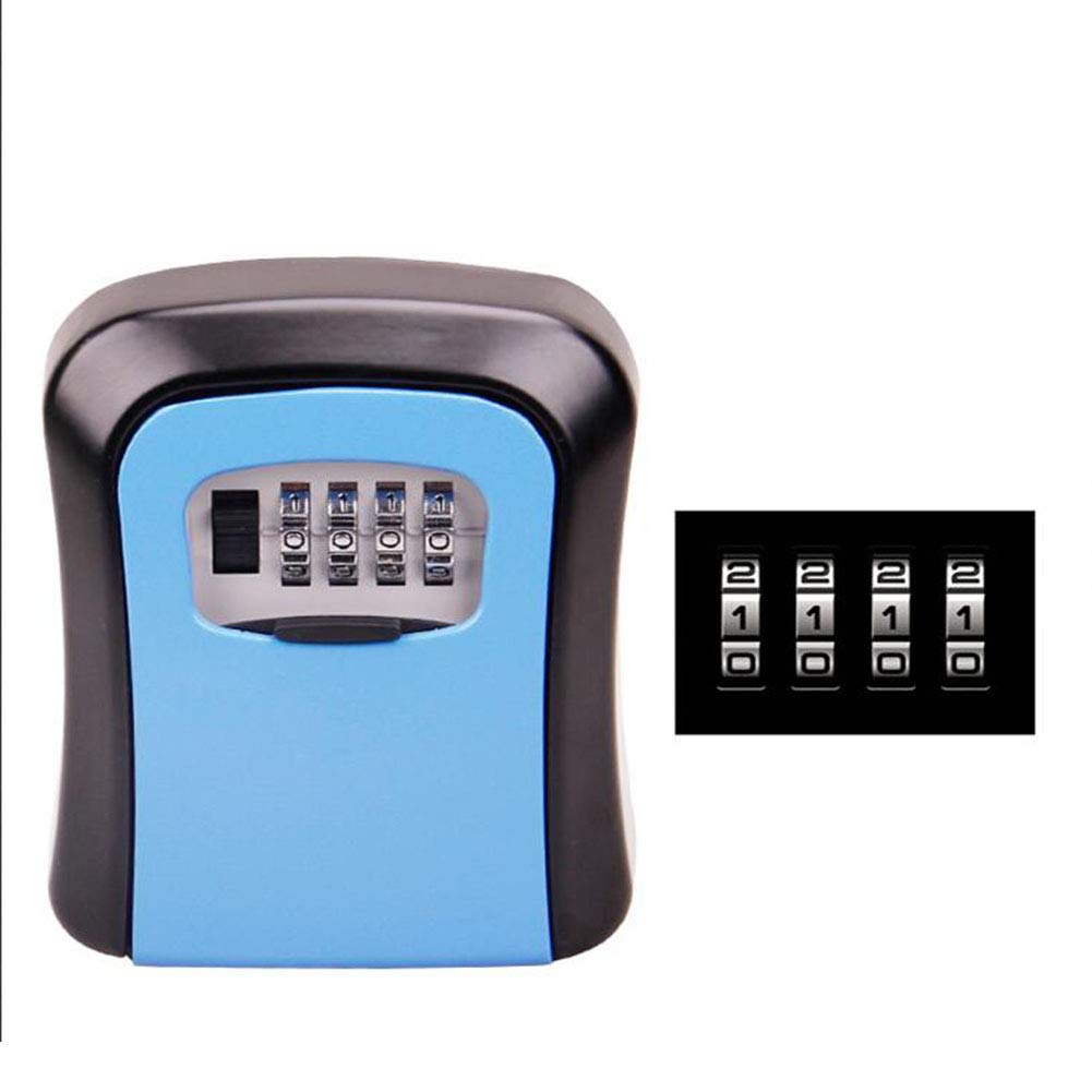 MLL Key Lock Box Zinc Alloy Weather Resistant, with 4-Digit Password Wheel Resettable Code Blue 3.3 2.4 1.1 in