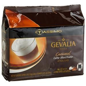 Gevalia Caramel Latte Macchiato (8 Servings), 16-Count T-Discs for Tassimo Coffeemakers (Pack of 2)