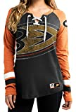 NHL Anaheim Ducks Women's Hip Check Long Sleeve Lace-Up Tee, Small, Black/Orange/White