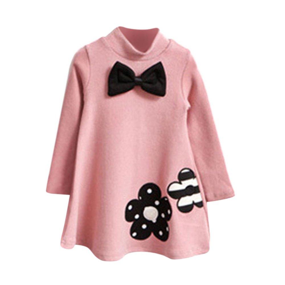 Weixinbuy Kid Girl's Cotton Bowknot Round Neck Long Sleeve T-shirt Dress