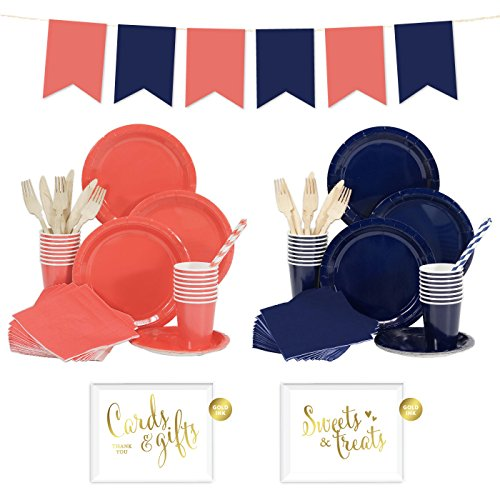 Andaz Press Complete 140-Piece Tableware Kit for 16 Guests, Coral and Navy Blue, Includes Plates, Cups, Napkins, Spoons, Forks, Straws, Party Signs, Hanging Pennant Banner Decorations, 1-Set