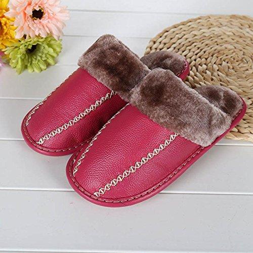 Ladies Casual zapatillas en otoño y invierno la cálido interior de piel sintética acolchada zapatillas, morado, 37