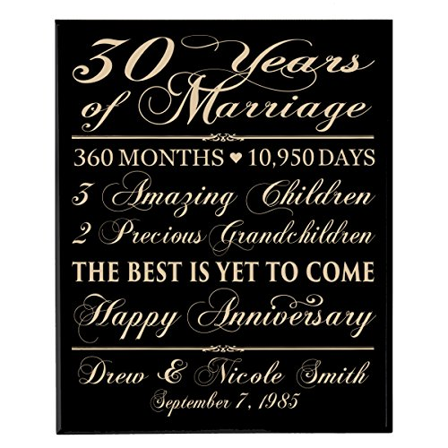LifeSong Milestones Personalized 30th for him her Couple Parents, Custom Made 30 Year Ideas Wall Plaque 12