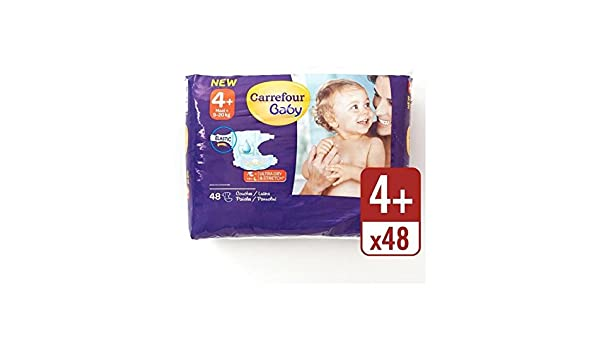 Carrefour Bebé Ultra Tamaño Seca 4+ Pañales Paquete Esencial 48 Por ...