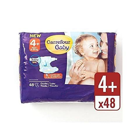 Carrefour Bebé Ultra Tamaño Seca 4+ Pañales Paquete Esencial 48 Por Paquete - Paquete de 2: Amazon.es: Bebé