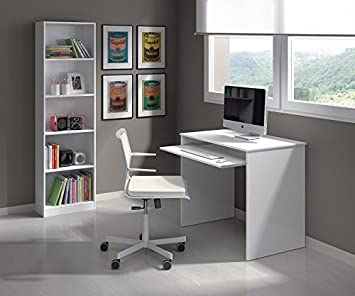 Small White Gloss Home Office Computer Desk With Keyboard Tray