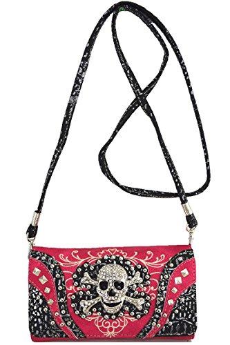 Purple wallet Purse fuchsia Handbag Bag Rhinestone Messenger Western Shoulder Skull Punk Ev8qzq