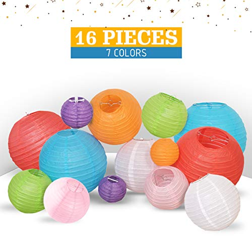 Multicolor Decorative Party Paper Lanterns - 16-Pack - Hanging Paper Lantern Decorations 4
