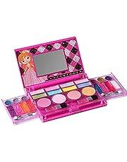 Playkidz: Mijn eerste prinses make-up borst, all-in-one-cosmetica voor meisjes en echte make-up palet met spiegel (wasbaar)