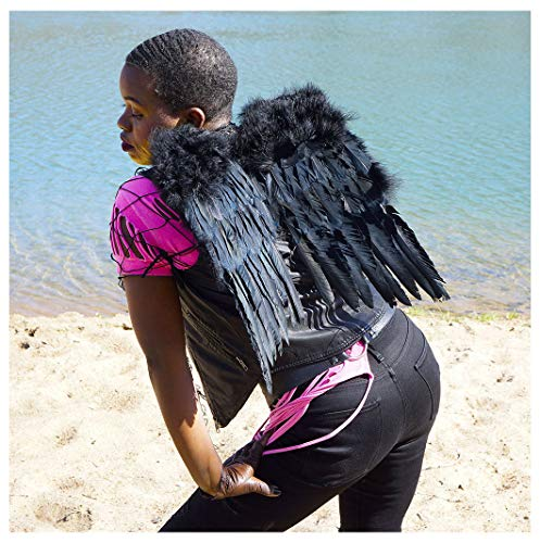 Small Black Angel Costume Wings - Halloween Cosplay Feather Wing for Adults-Kids